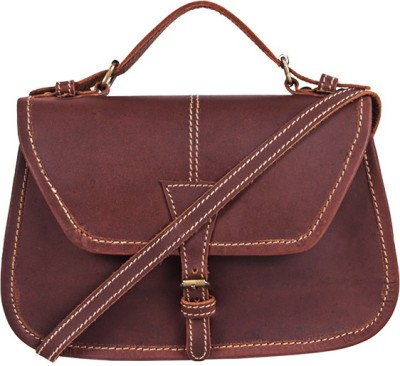 Dunez Women Brown Genuine Leather Sling Bag