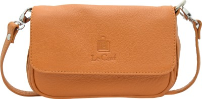 Le Craf Girls Casual Tan Genuine Leather Sling Bag