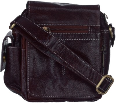 Bluwhale Men, Women Casual, Festive, Formal, Evening/Party Brown Genuine Leather Sling Bag