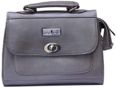 Checkmate Girls Casual Grey Genuine Leather Sling Bag