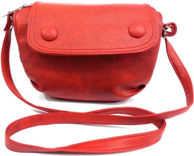 Leather Land Women, Girls Red Leatherette Sling Bag