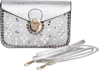 EXIV Girls, Women Silver Genuine Leather Sling Bag