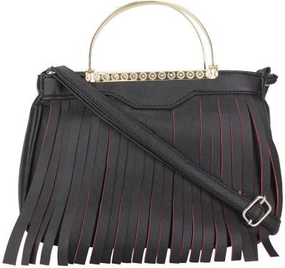 Red Rose Women Black PU Sling Bag
