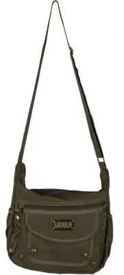 Ludan Men Green Canvas Sling Bag