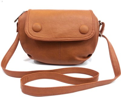 Leather Land Women, Girls Brown Leatherette Sling Bag