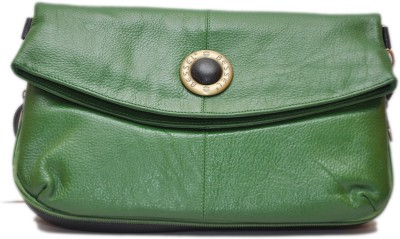 Hide Bulls Girls Green Genuine Leather Sling Bag