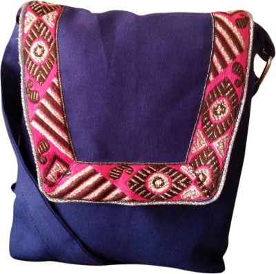 Fly Angels Women Blue Canvas Shoulder Bag