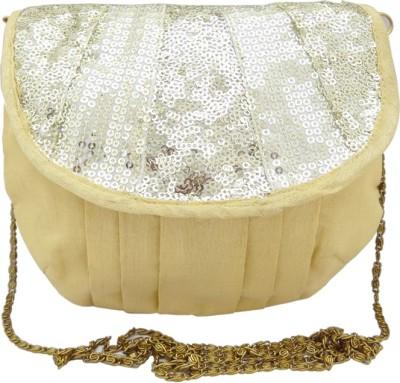 Hi Look Women Gold Canvas Sling Bag