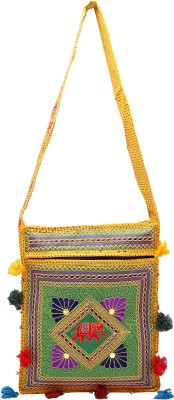 Rastogi Handicrafts Women Casual Green Cotton Sling Bag