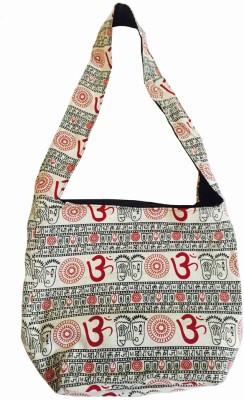 Old School Ethnic Girls, Women, Boys, Men Red, White, Black Cotton Sling Bag
