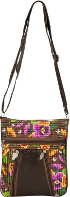 Glitters Girls Casual, Formal Brown Rexine Sling Bag