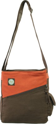 Anekaant Women Casual Brown Canvas, Genuine Leather Sling Bag