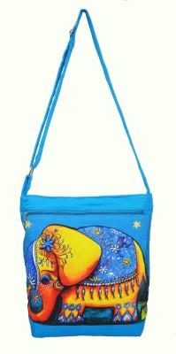 Shilpkart Women, Girls Blue Canvas, Cotton Sling Bag