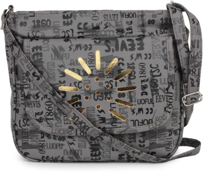 Star Style Women Casual Grey Canvas Sling Bag