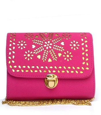 Fashion Knockout Girls, Women Pink Leatherette Sling Bag