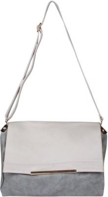 Fiza Women White, Grey Leatherette Shoulder Bag