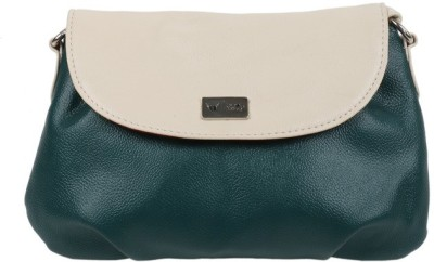 Beau Design Women Green, White PU Sling Bag
