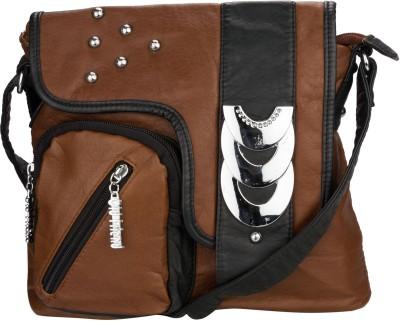 Glitters Women, Girls Casual Brown, Black PU Sling Bag