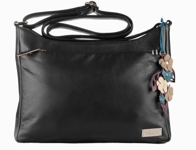 Klasse Women Formal Black Genuine Leather Sling Bag