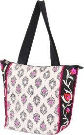 Pick Pocket Women White Canvas Tote