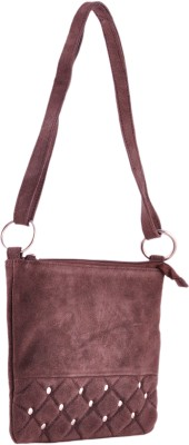HX London Women Casual Brown Genuine Leather Sling Bag