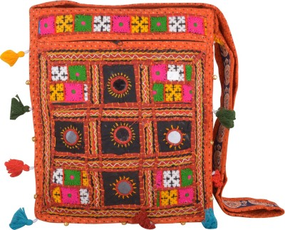 Arisha kreation Co Women Orange Cotton Sling Bag
