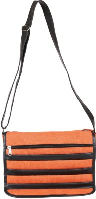 Benicia Women Orange Jute Sling Bag