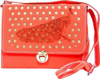 zasmina Girls Orange Leatherette Sling Bag