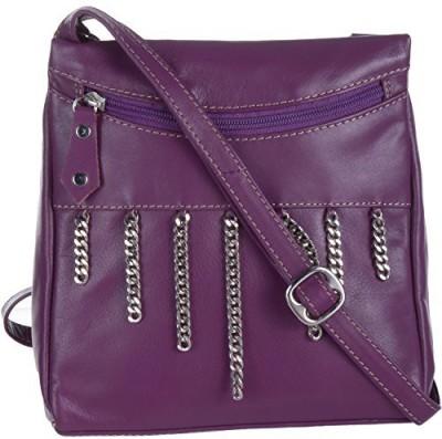 EUPHORIA Girls Purple Genuine Leather, Linen Sling Bag