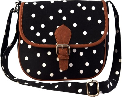 Lychee Bags Girls Casual Black Canvas Sling Bag
