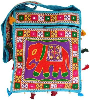 Laviva Women Blue Cotton Sling Bag