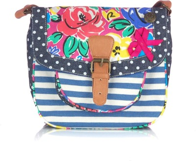 Shaun Design Women, Girls Casual Blue, White Canvas Sling Bag