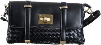 Peaubella Women Black Leatherette Sling Bag