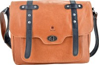 Le Craf Men & Women Tan Genuine Leather Messenger Bag