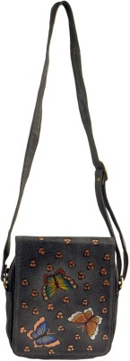 Balona Women, Girls Casual, Evening/Party Black Genuine Leather Sling Bag