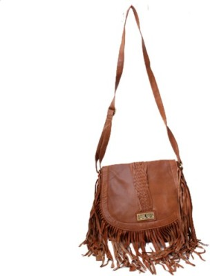 Checkmate Women Casual Brown Genuine Leather Sling Bag
