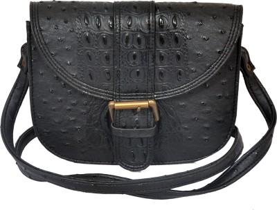 The Runner Girls Casual Black Leatherette Sling Bag