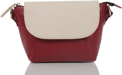 Ebry Girls Maroon Genuine Leather Sling Bag