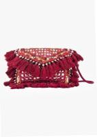 ThePurpleSack Women Maroon Cotton Sling Bag