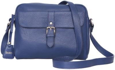 Taws Women Formal Blue Genuine Leather Sling Bag