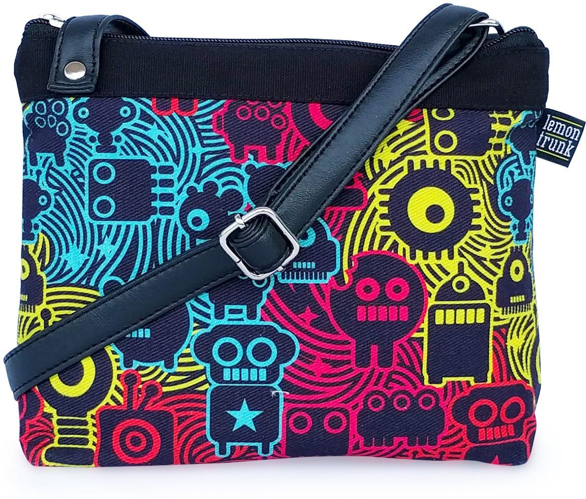 Sling bag below 500 - Lemon Trunk Girls Women Multicolor Canvas Leatherette Sling Bag