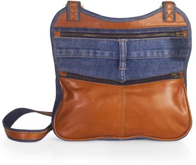 Hibiscus Women Casual Blue, Orange Denim, Genuine Leather Sling Bag