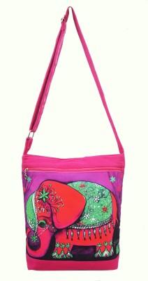 Shilpkart Women, Girls Pink Canvas, Cotton Sling Bag