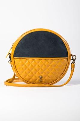 Srota Women Casual Yellow PU Sling Bag