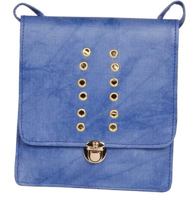 ALEXA INDIA Girls Blue Leatherette Sling Bag