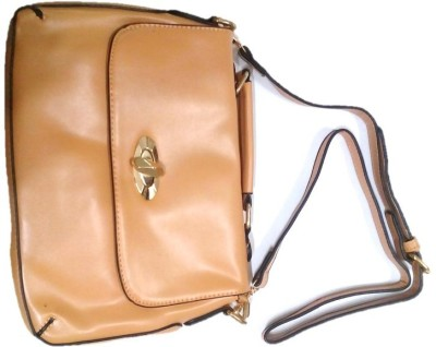 Divine Collection Girls Tan Leatherette Sling Bag