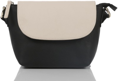 Ebry Girls Black Genuine Leather Sling Bag