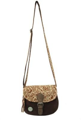 Anekaant Women Casual Brown Cotton, PU Sling Bag