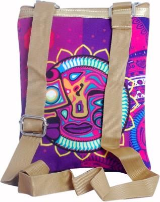 Triveni Women Casual Purple PU, Canvas Sling Bag
