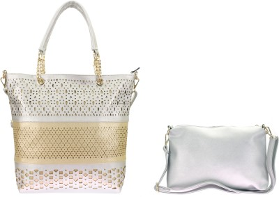 velina Women Gold, Silver PU Shoulder Bag